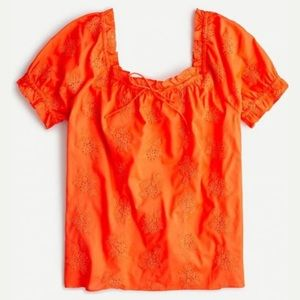 J.Crew Square-neck top with embroidered eyelet